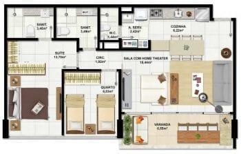 Planta baixa do apartamento de 2 quartos com área privativa de 77,54m² e 2 vagas de garagem.