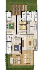 Planta baixa do apartamento com 3 suítes do Imperia Lounge Itacimirim