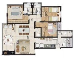 Planta baixa do apartamento tipo 3 quartos (1 suíte) com lavabo em 95,64m² de área privativa.