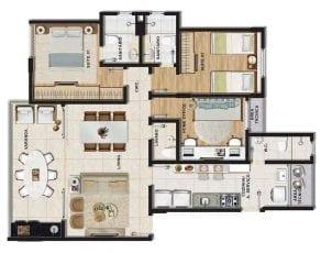 Planta baixa do apartamento tipo 3 quartos (2 suítes) com home office e lavabo em 95,64m² de área privativa.