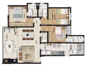 Planta baixa do apartamento tipo 3 quartos (3 suítes) com lavabo em 95,64m² de área privativa.