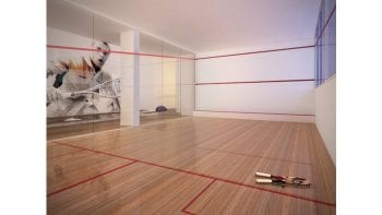 Perspectiva da quadra de squash do Greenville Lumno