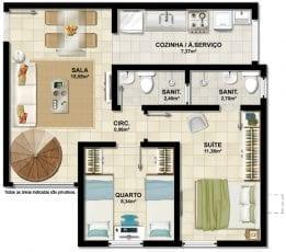 apartamento 2 quartos com suíte e terraço privativo da cobertura, pavimento inferior.