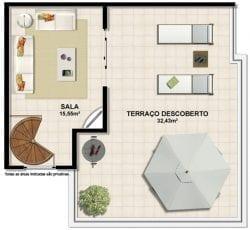 Planta baixa do apartamento 2 quartos com suíte e terraço privativo e cobertura com pavimento superior.