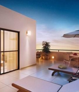 Perspectiva do apartamento cobertura com terraço.