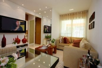 Foto do living, apartamento decorado