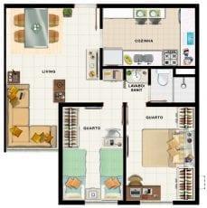 Planta baixa, apartamento tipo 01
