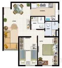 Planta baixa, apartamento tipo 02