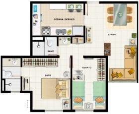 Planta baixa, apartamento tipo 03
