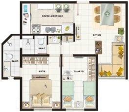 Planta baixa 2 quartos com suite tipo 2