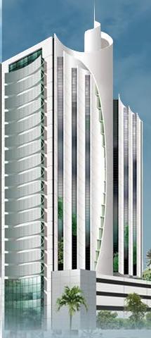 Perspectiva da fachada do Salvador Office & Pool.