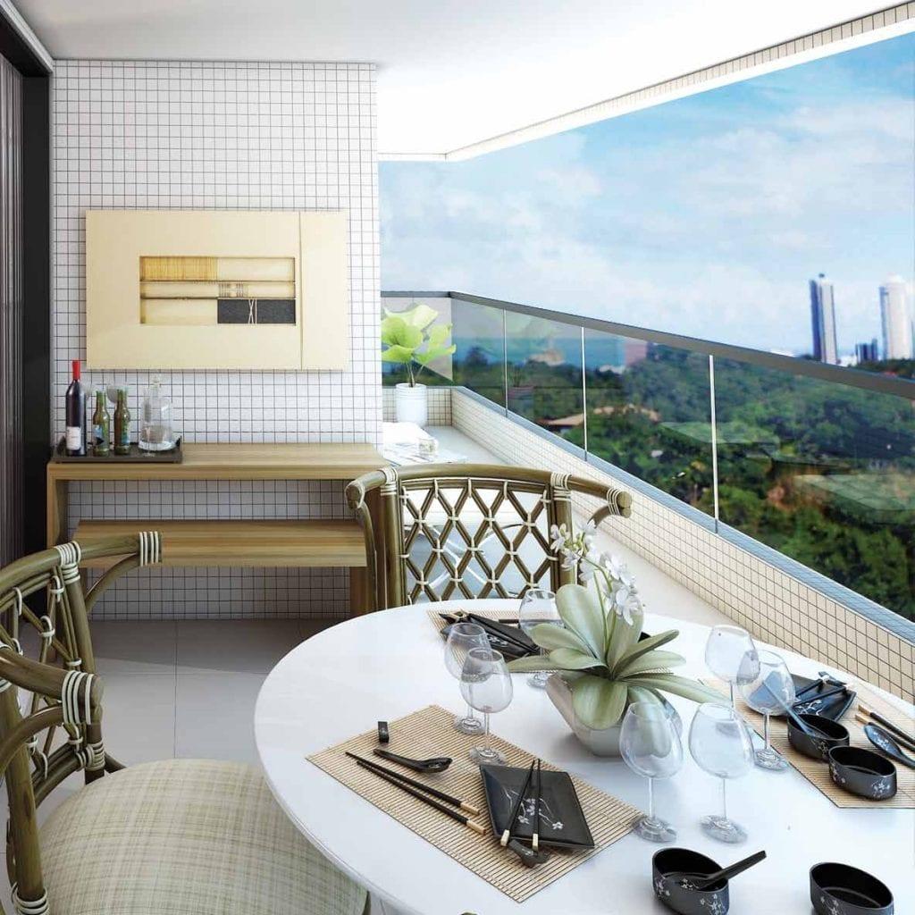 Perspectiva da varanda do apartamento 3 quartos do Residencial Comendador Aloysio Nunes