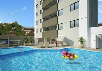 Perspectiva da piscina do Residencial Varandas da Fonte Nova