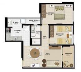 Planta baixa - Apartamento Tipo A