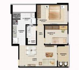 Planta baixa - Apartamento Tipo B
