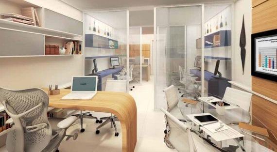 Perspectiva artística da sala single comercial - final 03 do Mondial Salvador Office
