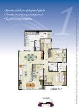 Torre Atlântico - Opção 1 - 3 quartos, sendo uma suíte, reversível para 4 quartos, varanda com preparação para gourmet, 98,48m2 - Colunas 1 e 4