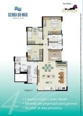 Torre Atlântico - Opção 4 - 3 quartos, sendo uma suíte, Home Theater, 98,65m2 de área privativa - Coluna 5