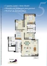 Torre Atlântico - Opção 5 - 3 quartos, sendo uma suíte, Home Theater, varanda com preparação para gourmet, 98,65m2 - Coluna 5