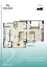 Torre Pacífico - Opção 2 - 3 quartos, sendo uma suíte, Home Theater, 90,50m2 de área privativa - Colunas 2 e 3