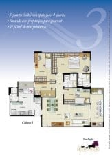 Torre Pacífico - Opção 3 - 3 quartos, sendo uma suíte, reversível para 4 quartos, varanda com preparação para gourmet, 91,80m2 - Coluna 5