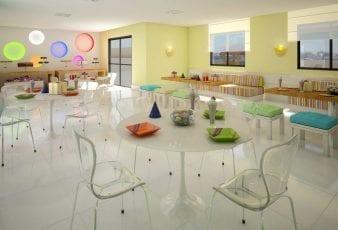 Perspectiva do salão de festas infantil