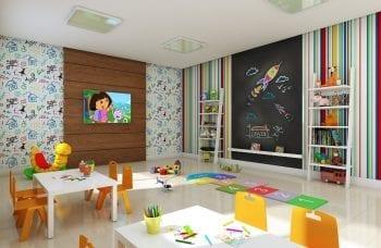 Perspectiva da brinquedoteca e parque infantil do Residencial Madrid