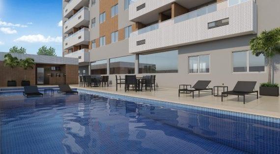 Perspectiva da piscina Adulto e Infantil do Residencial Madrid