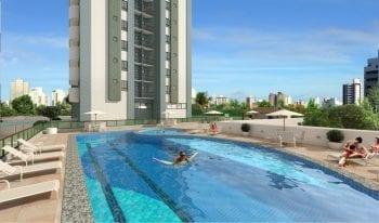 Perspectiva da Piscina com raia, deck molhado e piscina infantil