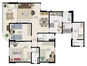 Planta Baixa - 3 quartos com suíte - Torre Norte