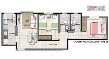 Planta 2 quartos com suite