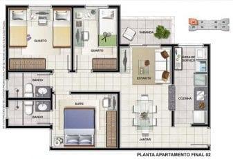Planta 3 quartos com suite