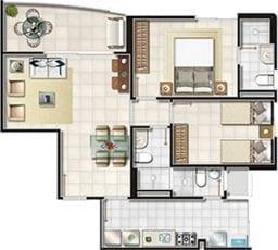 Planta Baixa - 2 quartos