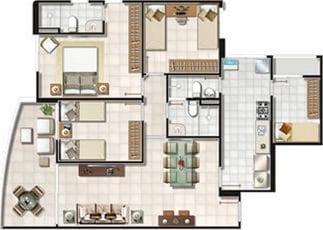 Planta Baixa - 3 quartos