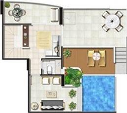 Planta Baixa - Cobertura - 2 quartos