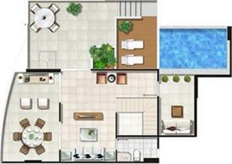 Planta Baixa - Cobertura - 3 quartos