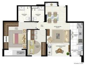 Cristina Calumby e Isabel Gonçalves - Panta Tipo - 2 quartos com suíte e varanda gourmet - 60m2