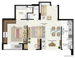 Cristina Calumby e Isabel Gonçalves - Panta Tipo - 2 quartos com suíte, varanda gourmet e sala de estar ampliada - 60m2