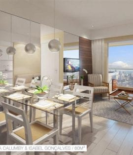 Cristina Calumby e Isabel Gonçalves: Perspectiva do living 60m2
