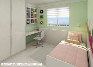 Marcia Meccia: Perspectiva da quarto de menina 70m2