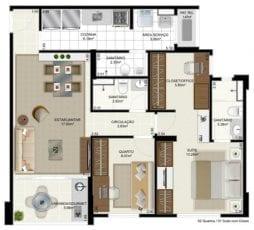Márcia Meccia - Planta Tipo - 2 quartos com suíte com closet ou office - 70m2