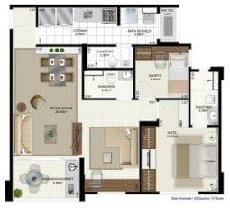 Márcia Meccia - Planta Tipo - 2 quartos com suíte e sala ampliada - 70m2