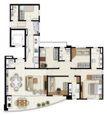 Márcia Meccia - Planta Tipo 4 quartos com duas suítes e 120m2 de área privativa - Terraço