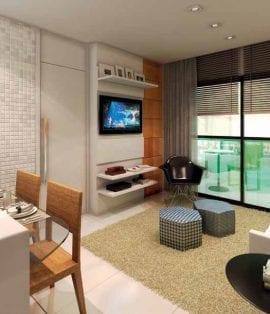 Perspectiva artística do Living residencial – referente ao apartamento de 2 dormitórios do Mondial Salvador Residence