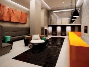 Perspectiva artística do Lobby residencial do Mondial Salvador Residence