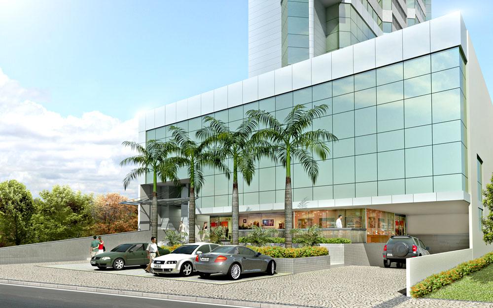 Perspectiva da entrada do Premier Tower Empresarial