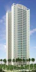 Perspectiva da fachada apartamentos com 140m2 do Condomínio Reserva das Flores