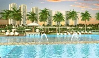 Perspectiva da piscina do Condomínio Reserva das Flores