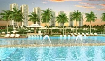 Perspectiva da piscina do Condomínio Reserva das Árvores
