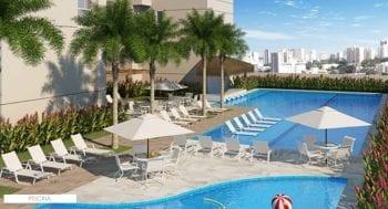 Perspectiva da piscina do Condomínio Reserva do Pomar